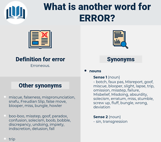 error, synonym error, another word for error, words like error, thesaurus error
