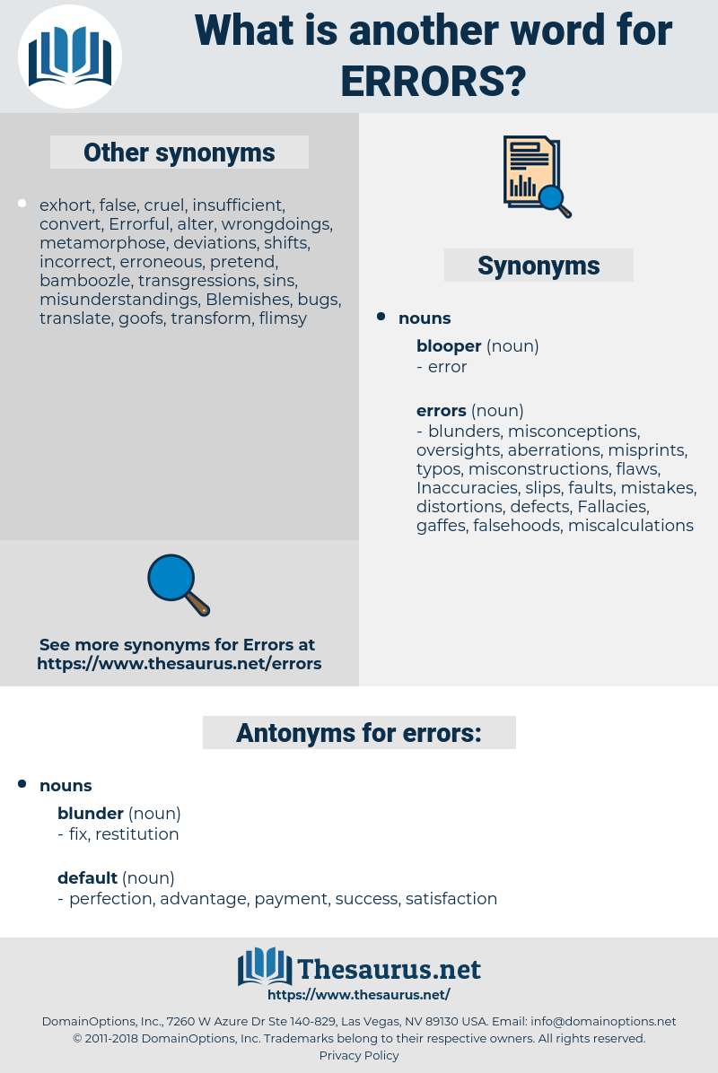 errors, synonym errors, another word for errors, words like errors, thesaurus errors