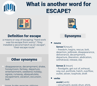 escape, synonym escape, another word for escape, words like escape, thesaurus escape