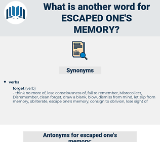 escaped one's memory, synonym escaped one's memory, another word for escaped one's memory, words like escaped one's memory, thesaurus escaped one's memory