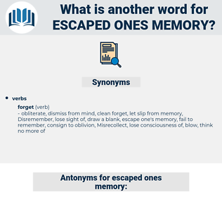 escaped ones memory, synonym escaped ones memory, another word for escaped ones memory, words like escaped ones memory, thesaurus escaped ones memory