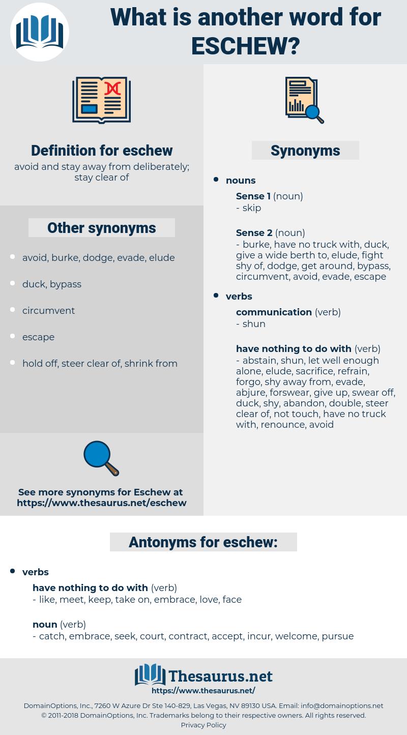 eschew, synonym eschew, another word for eschew, words like eschew, thesaurus eschew