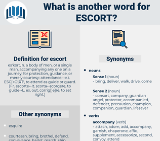 escort, synonym escort, another word for escort, words like escort, thesaurus escort