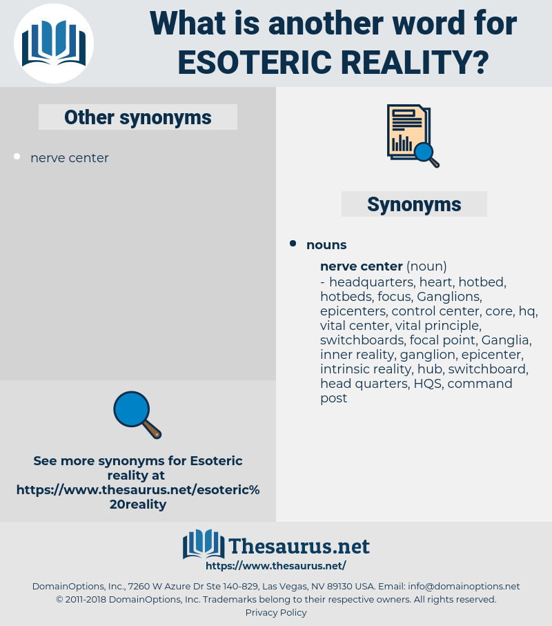 Synonyms for ESOTERIC REALITY - Thesaurus net