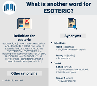 Synonyms for ESOTERIC, Antonyms for ESOTERIC - Thesaurus net