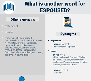 Espoused, synonym Espoused, another word for Espoused, words like Espoused, thesaurus Espoused