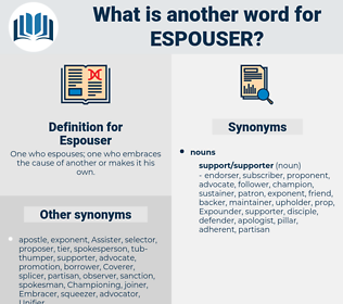 Espouser, synonym Espouser, another word for Espouser, words like Espouser, thesaurus Espouser