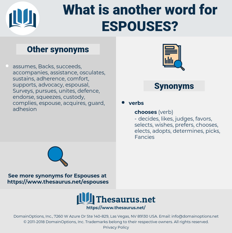 espouses, synonym espouses, another word for espouses, words like espouses, thesaurus espouses