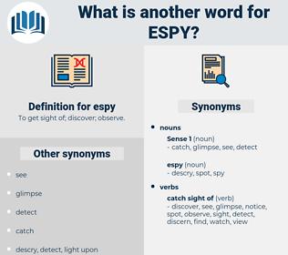 espy, synonym espy, another word for espy, words like espy, thesaurus espy