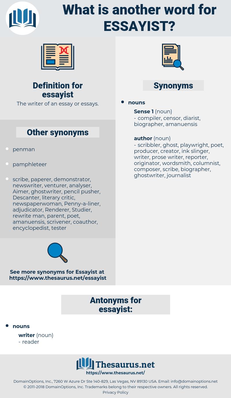 essayist, synonym essayist, another word for essayist, words like essayist, thesaurus essayist