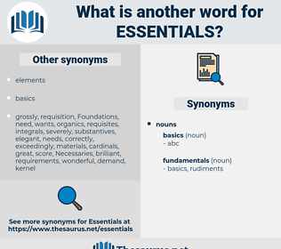 essentials, synonym essentials, another word for essentials, words like essentials, thesaurus essentials