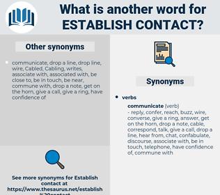 establish contact, synonym establish contact, another word for establish contact, words like establish contact, thesaurus establish contact