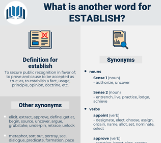 establish, synonym establish, another word for establish, words like establish, thesaurus establish