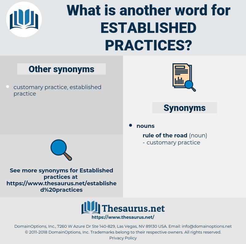 established practices, synonym established practices, another word for established practices, words like established practices, thesaurus established practices