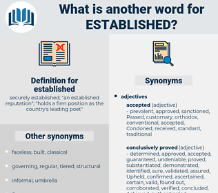 established, synonym established, another word for established, words like established, thesaurus established