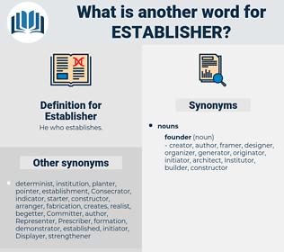 Establisher, synonym Establisher, another word for Establisher, words like Establisher, thesaurus Establisher