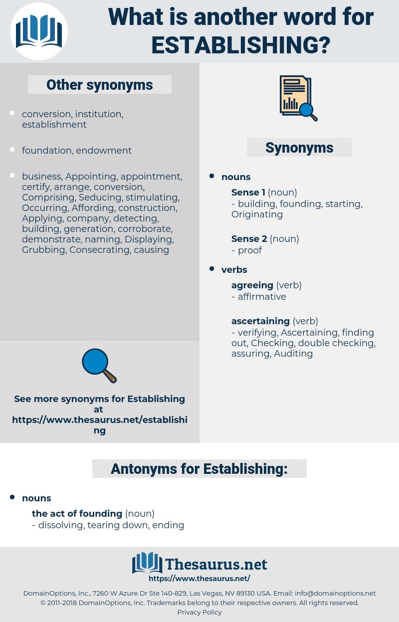 Establishing, synonym Establishing, another word for Establishing, words like Establishing, thesaurus Establishing
