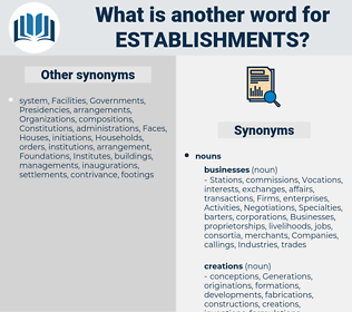 establishments, synonym establishments, another word for establishments, words like establishments, thesaurus establishments