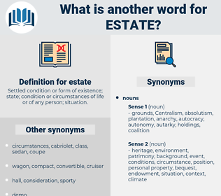 estate, synonym estate, another word for estate, words like estate, thesaurus estate