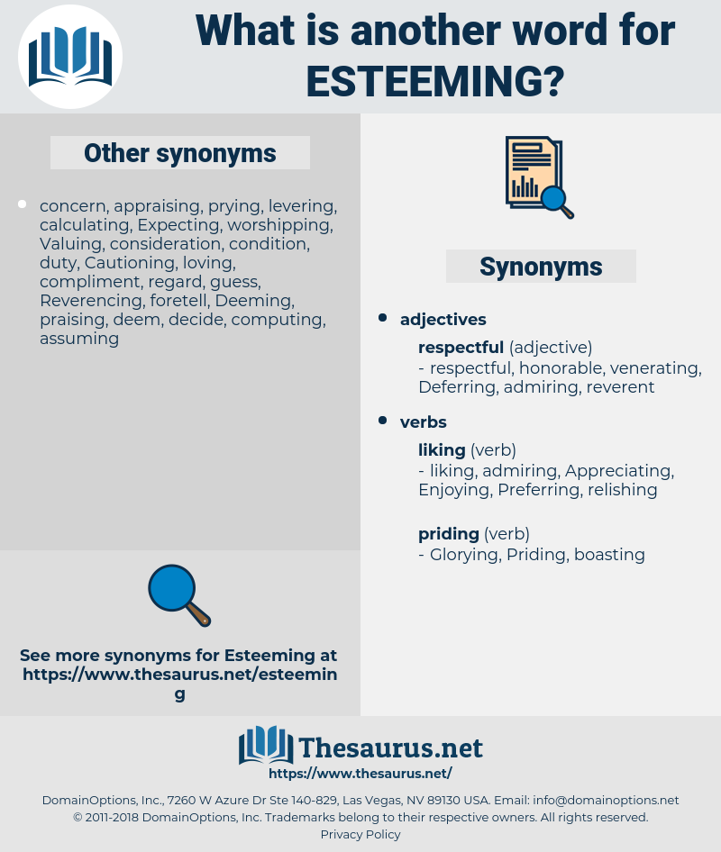 Esteeming, synonym Esteeming, another word for Esteeming, words like Esteeming, thesaurus Esteeming