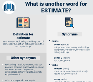 estimate, synonym estimate, another word for estimate, words like estimate, thesaurus estimate