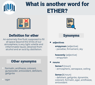 ether, synonym ether, another word for ether, words like ether, thesaurus ether