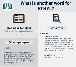 ethyl, synonym ethyl, another word for ethyl, words like ethyl, thesaurus ethyl
