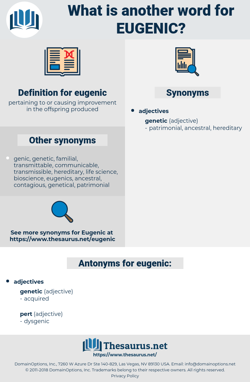 eugenic, synonym eugenic, another word for eugenic, words like eugenic, thesaurus eugenic