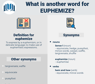 euphemize, synonym euphemize, another word for euphemize, words like euphemize, thesaurus euphemize