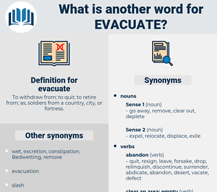 evacuate, synonym evacuate, another word for evacuate, words like evacuate, thesaurus evacuate