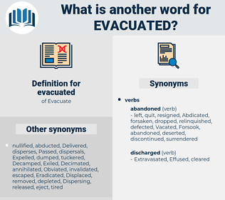 evacuated, synonym evacuated, another word for evacuated, words like evacuated, thesaurus evacuated