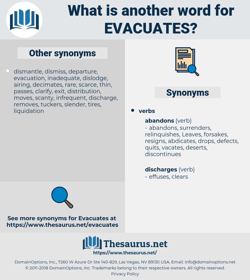 evacuates, synonym evacuates, another word for evacuates, words like evacuates, thesaurus evacuates