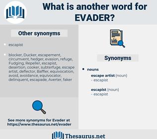 evader, synonym evader, another word for evader, words like evader, thesaurus evader