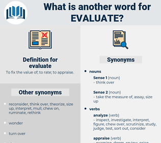 evaluate, synonym evaluate, another word for evaluate, words like evaluate, thesaurus evaluate