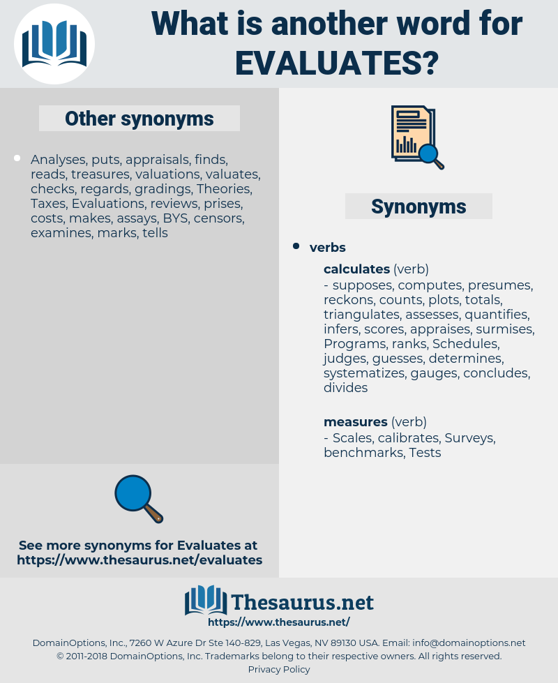evaluates, synonym evaluates, another word for evaluates, words like evaluates, thesaurus evaluates