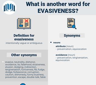 evasiveness, synonym evasiveness, another word for evasiveness, words like evasiveness, thesaurus evasiveness