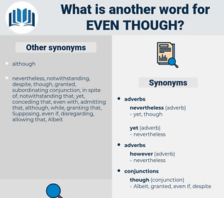 even though, synonym even though, another word for even though, words like even though, thesaurus even though