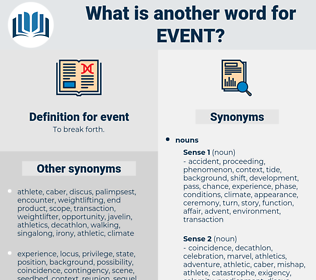 event, synonym event, another word for event, words like event, thesaurus event