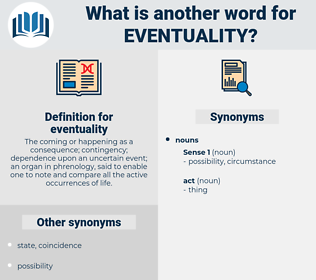 eventuality, synonym eventuality, another word for eventuality, words like eventuality, thesaurus eventuality