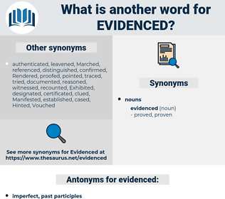evidenced, synonym evidenced, another word for evidenced, words like evidenced, thesaurus evidenced