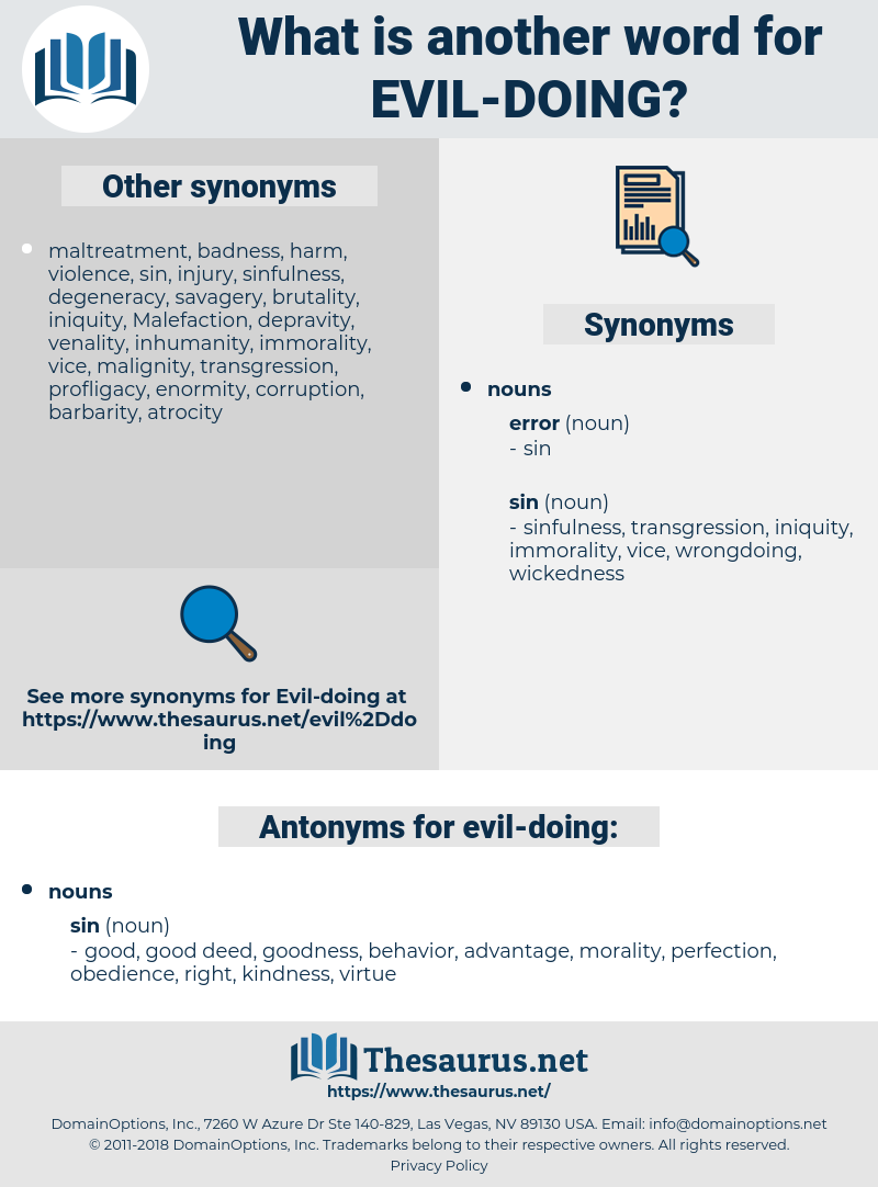 evil-doing, synonym evil-doing, another word for evil-doing, words like evil-doing, thesaurus evil-doing