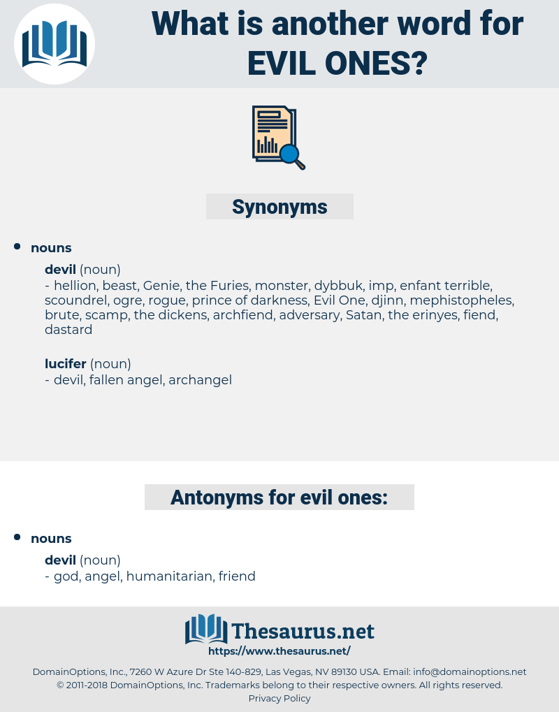 evil ones, synonym evil ones, another word for evil ones, words like evil ones, thesaurus evil ones