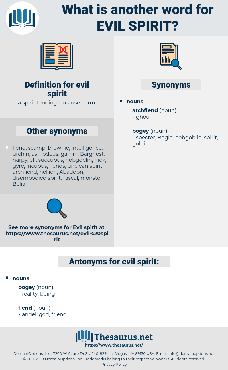evil spirit, synonym evil spirit, another word for evil spirit, words like evil spirit, thesaurus evil spirit
