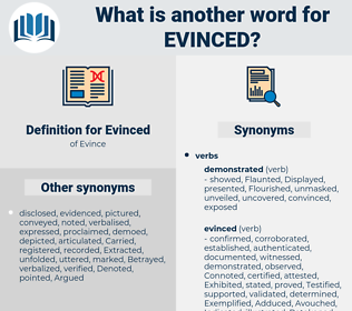 Evinced, synonym Evinced, another word for Evinced, words like Evinced, thesaurus Evinced