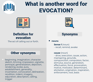 evocation, synonym evocation, another word for evocation, words like evocation, thesaurus evocation