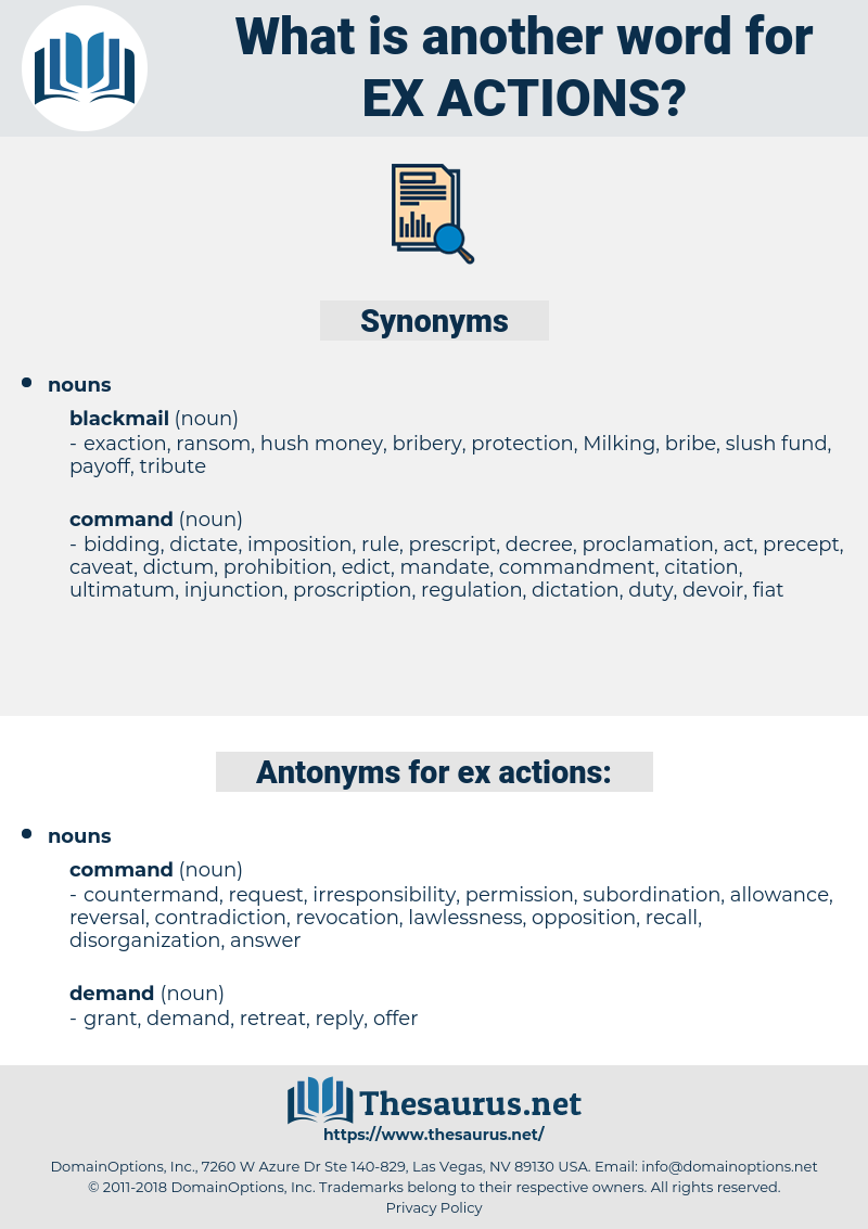 ex-actions, synonym ex-actions, another word for ex-actions, words like ex-actions, thesaurus ex-actions