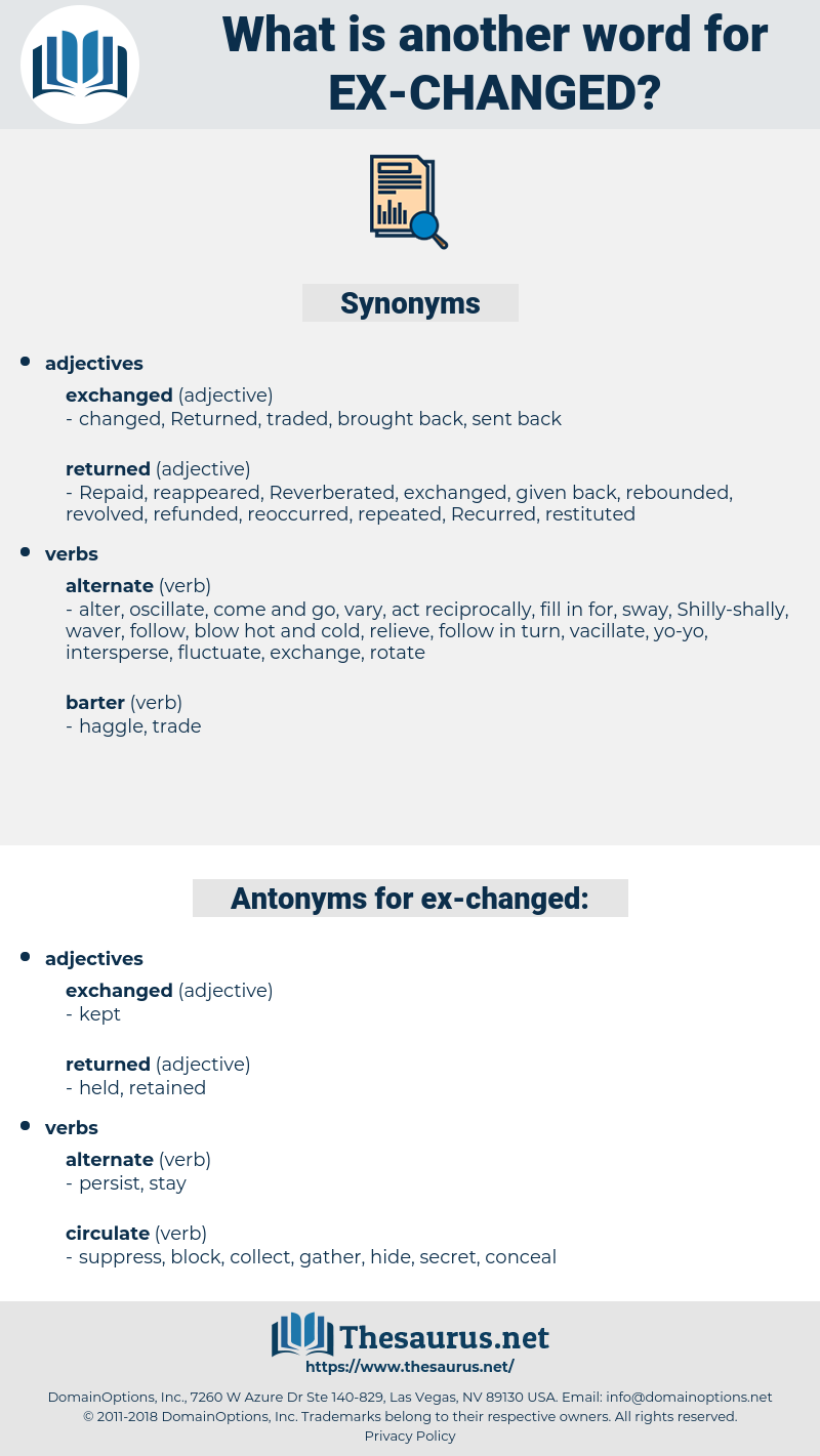 ex-changed, synonym ex-changed, another word for ex-changed, words like ex-changed, thesaurus ex-changed
