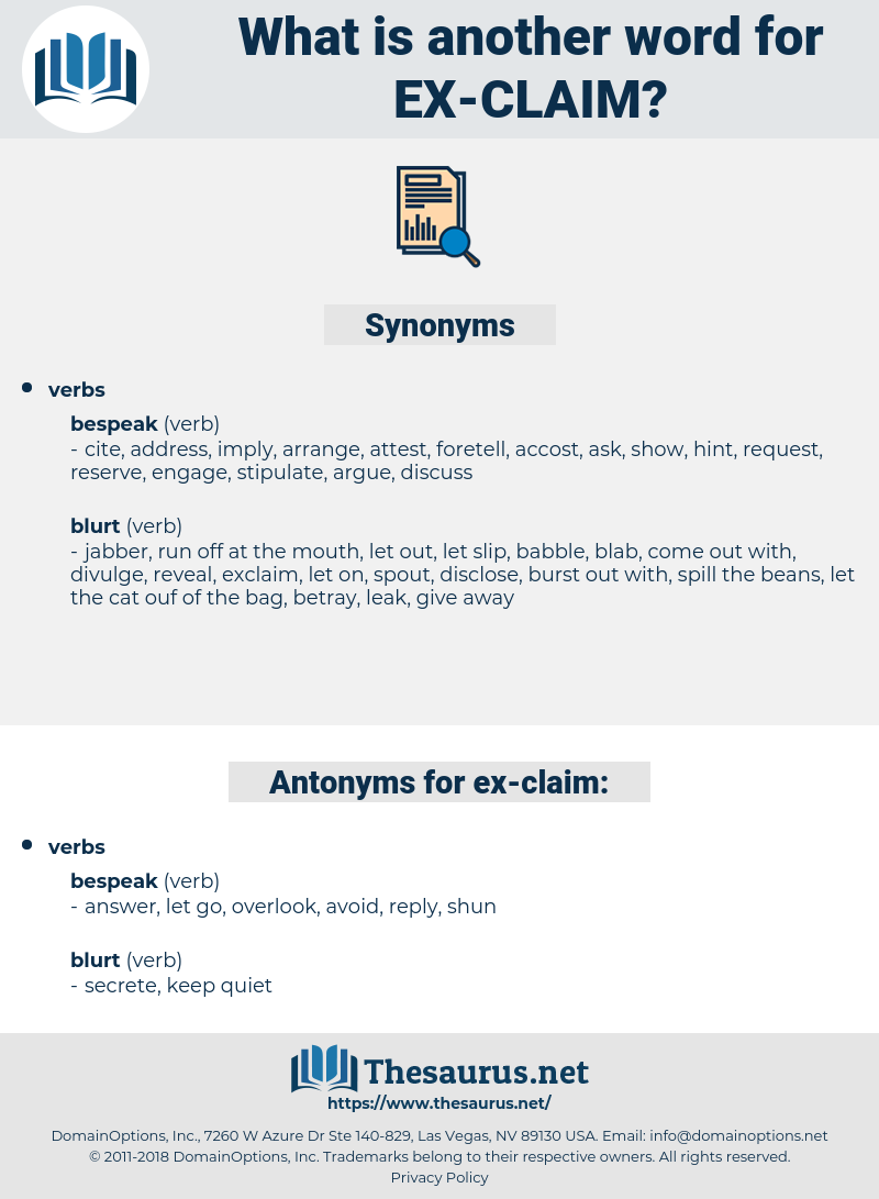 ex claim, synonym ex claim, another word for ex claim, words like ex claim, thesaurus ex claim