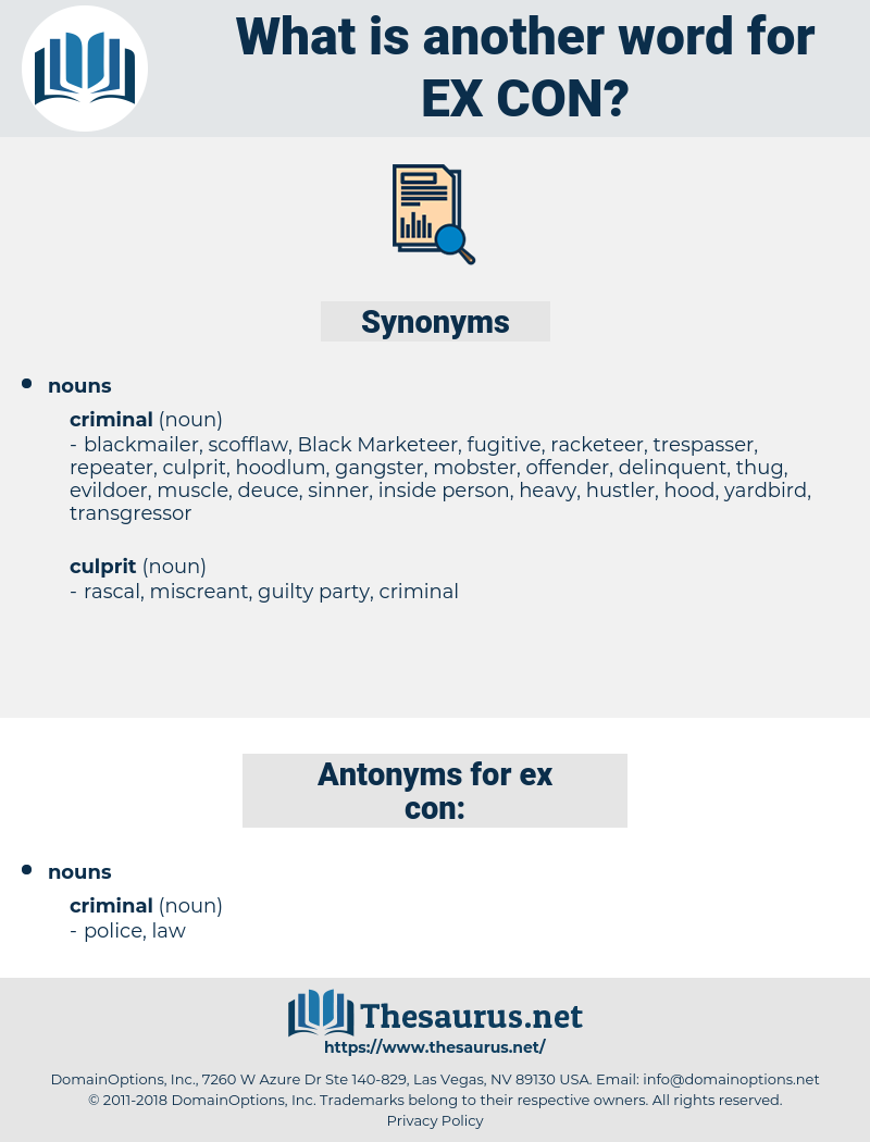 ex-con, synonym ex-con, another word for ex-con, words like ex-con, thesaurus ex-con
