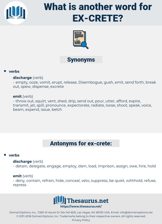 ex-crete, synonym ex-crete, another word for ex-crete, words like ex-crete, thesaurus ex-crete